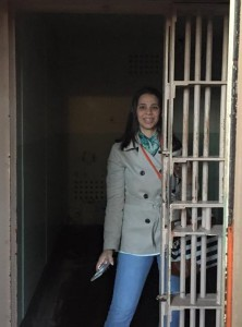 Luisa in a cell at Alcatraz